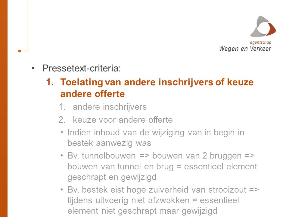 Pressetext-criteria: