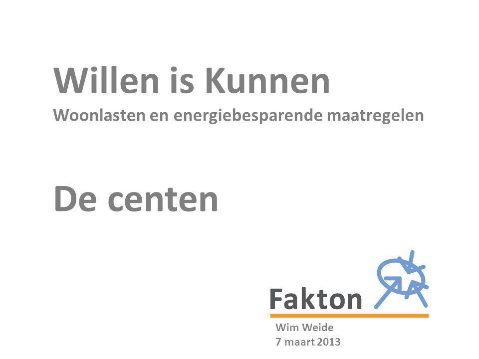 Willen is Kunnen De centen Woonlasten en energiebesparende maatregelen