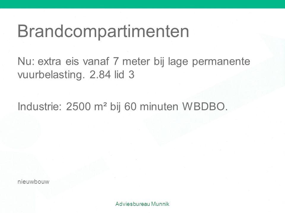 Brandcompartimenten Nu: extra eis vanaf 7 meter bij lage permanente vuurbelasting. 2.84 lid 3. Industrie: 2500 m² bij 60 minuten WBDBO.