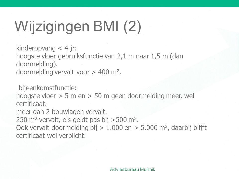 Wijzigingen BMI (2) kinderopvang < 4 jr: