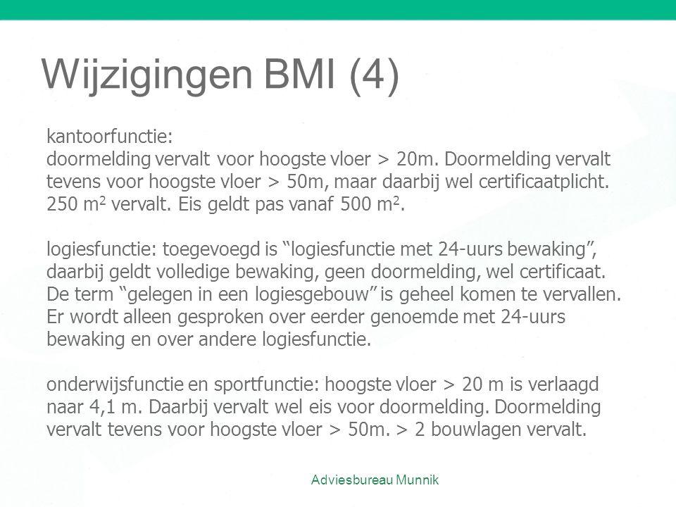 Wijzigingen BMI (4) kantoorfunctie: