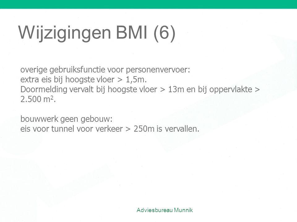 Wijzigingen BMI (6) overige gebruiksfunctie voor personenvervoer: