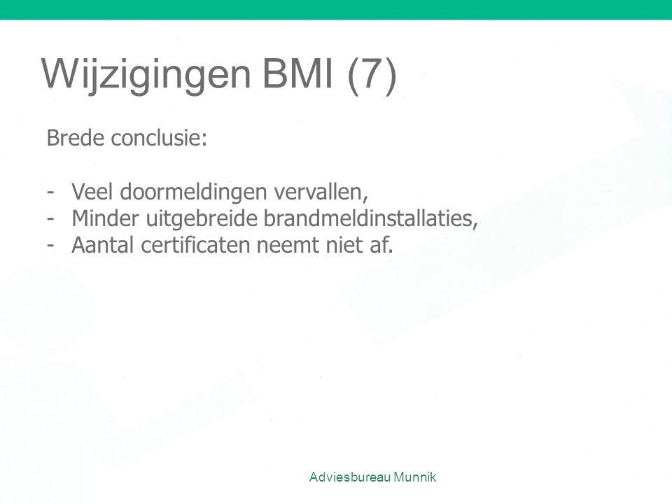 Wijzigingen BMI (7) Brede conclusie: Veel doormeldingen vervallen,