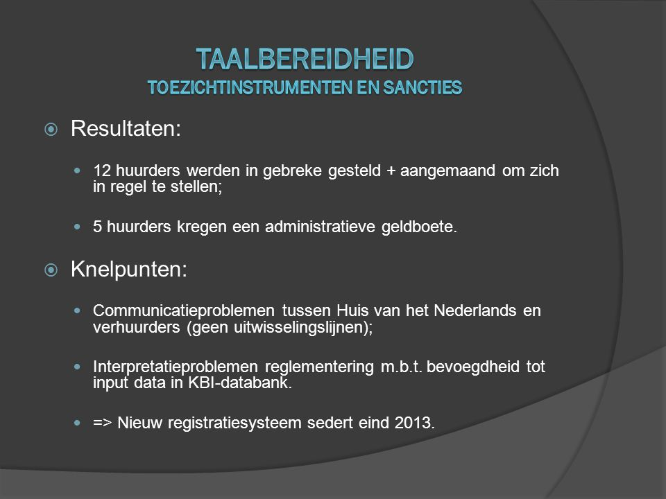 taalbereidheid toezichtinstrumenten en sancties