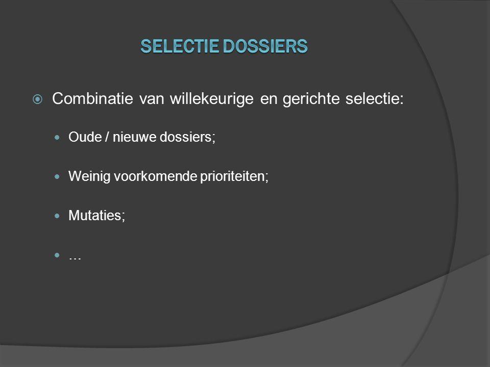Selectie dossiers Combinatie van willekeurige en gerichte selectie: