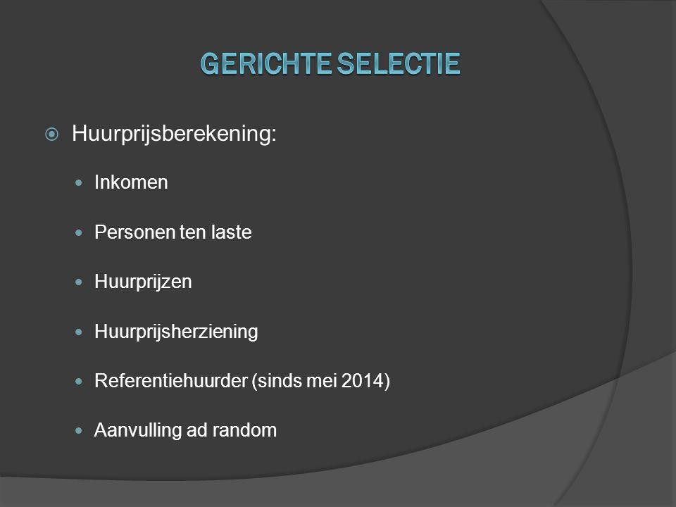 Gerichte selectie Huurprijsberekening: Inkomen Personen ten laste