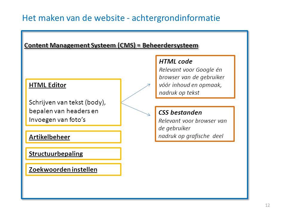 Het maken van de website - achtergrondinformatie