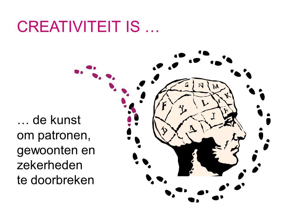 CREATIVITEIT IS … … de kunst om patronen, gewoonten en zekerheden te doorbreken