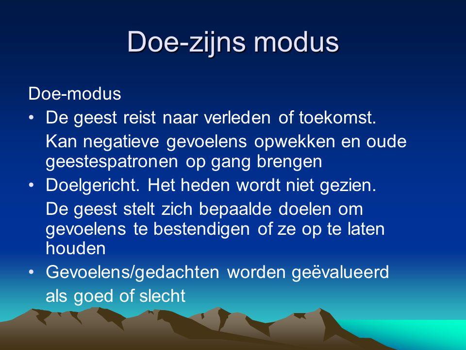 Doe-zijns modus Doe-modus De geest reist naar verleden of toekomst.