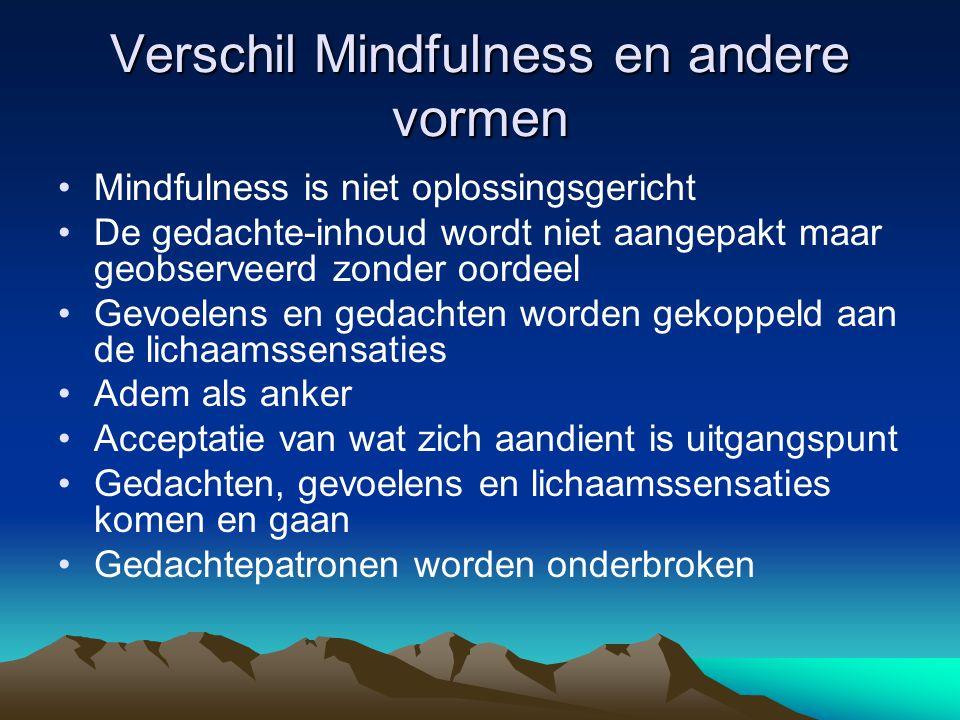 Verschil Mindfulness en andere vormen
