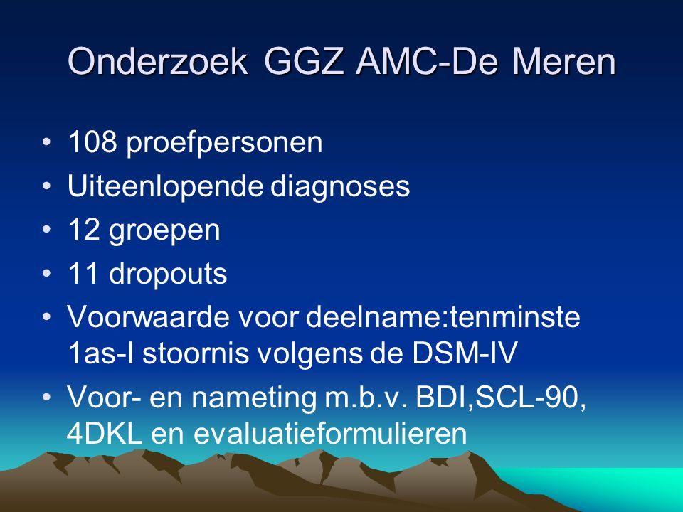 Onderzoek GGZ AMC-De Meren