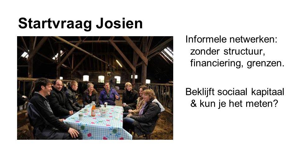 Startvraag Josien Informele netwerken: zonder structuur, financiering, grenzen.