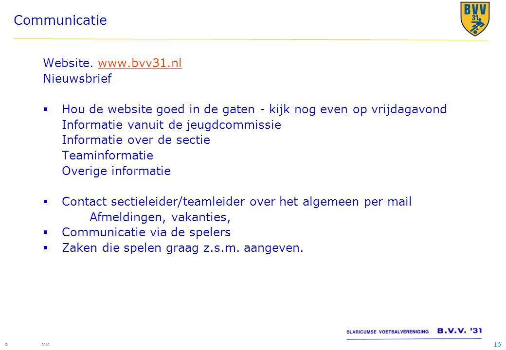 Communicatie Website. www.bvv31.nl Nieuwsbrief