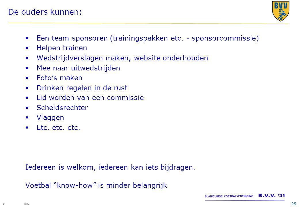 De ouders kunnen: Een team sponsoren (trainingspakken etc. - sponsorcommissie) Helpen trainen. Wedstrijdverslagen maken, website onderhouden.