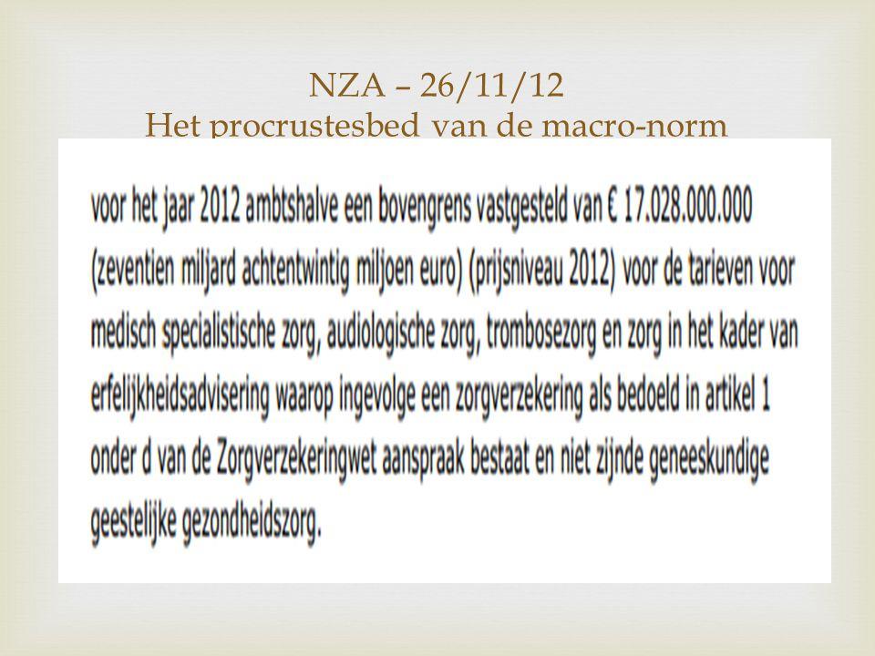 NZA – 26/11/12 Het procrustesbed van de macro-norm