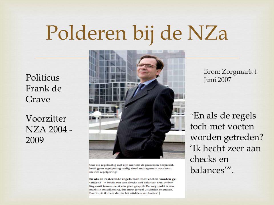 Polderen bij de NZa Politicus Frank de Grave