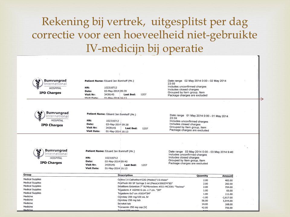 Rekening bij vertrek, uitgesplitst per dag correctie voor een hoeveelheid niet-gebruikte IV-medicijn bij operatie