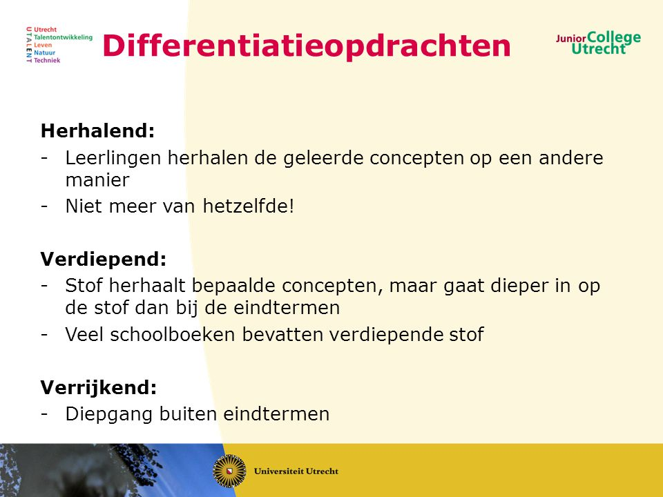Differentiatieopdrachten