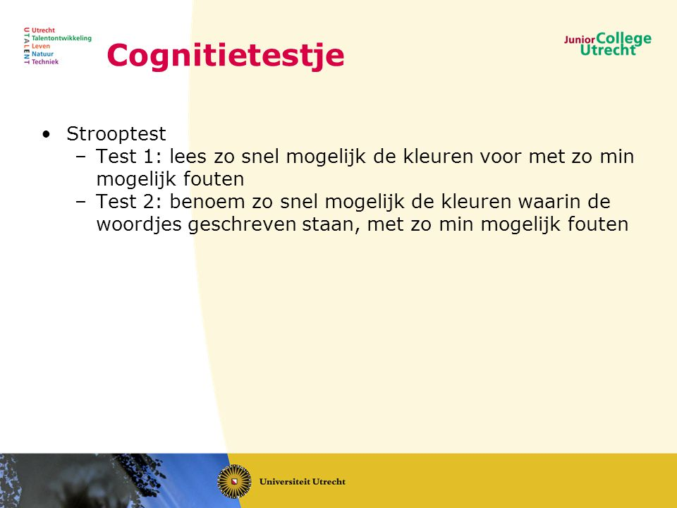 Cognitietestje Strooptest