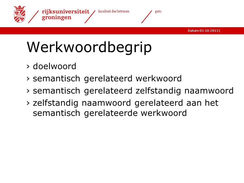 Werkwoordbegrip doelwoord semantisch gerelateerd werkwoord