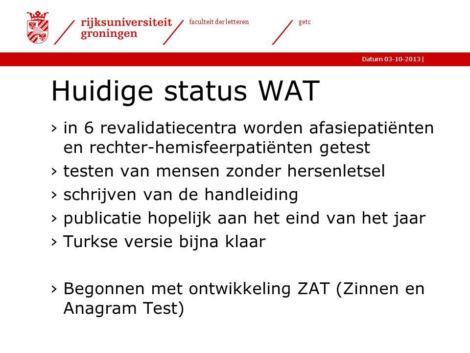 Huidige status WAT in 6 revalidatiecentra worden afasiepatiënten en rechter-hemisfeerpatiënten getest.