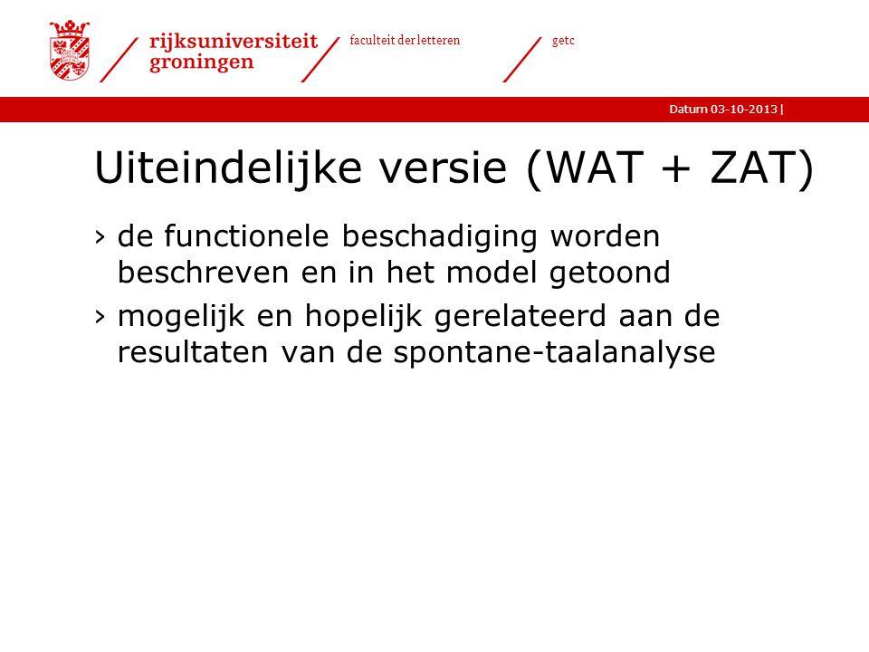 Uiteindelijke versie (WAT + ZAT)
