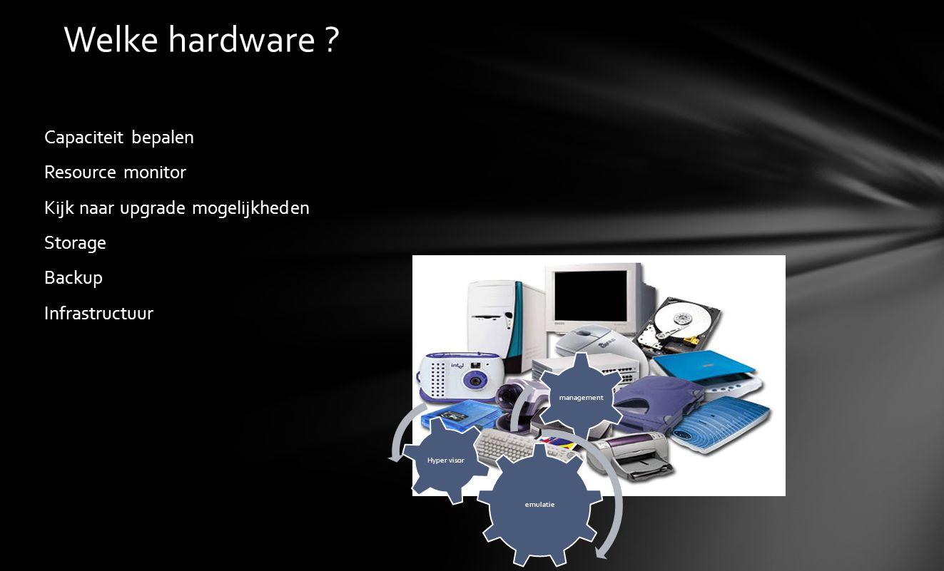 Welke hardware Capaciteit bepalen Resource monitor Kijk naar upgrade mogelijkheden Storage Backup Infrastructuur