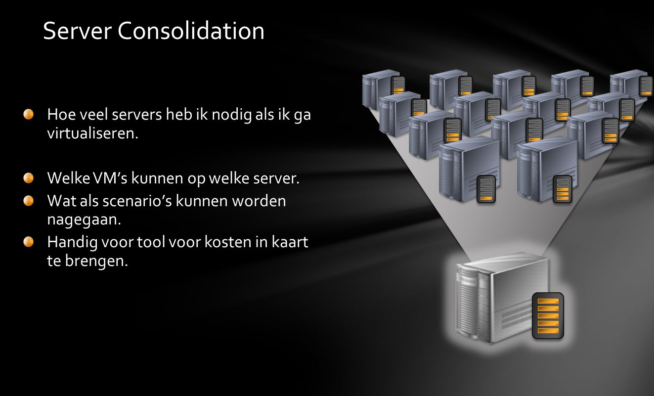 Server Consolidation Hoe veel servers heb ik nodig als ik ga virtualiseren. Welke VM's kunnen op welke server.
