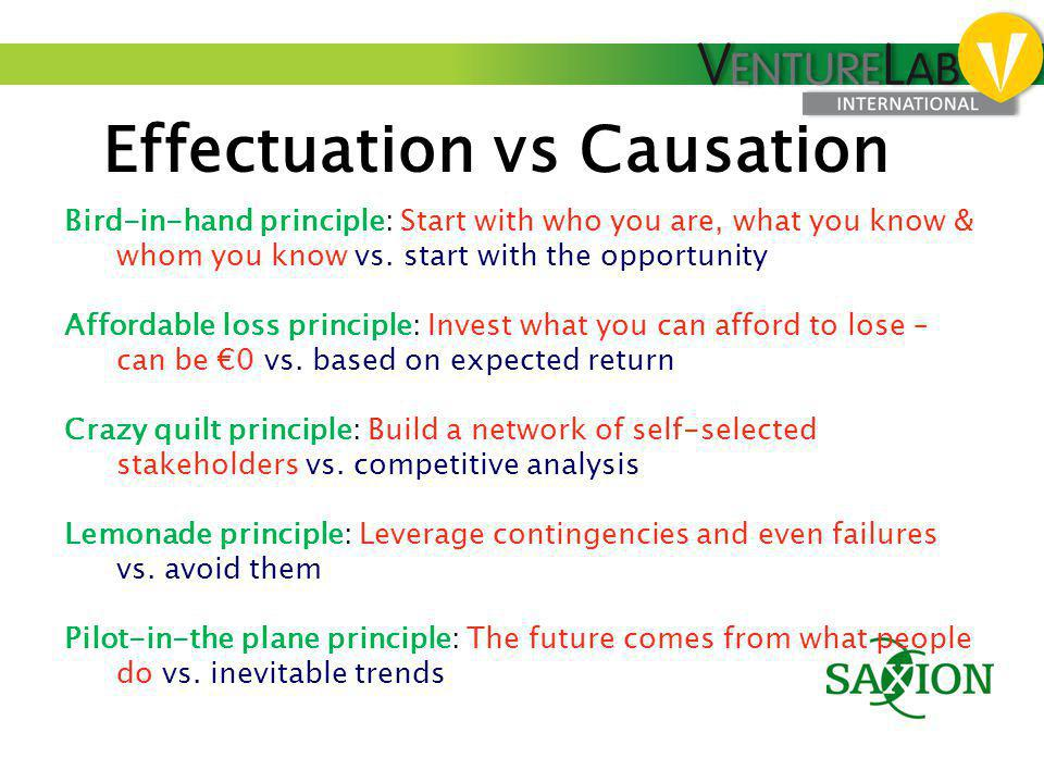 Effectuation vs Causation