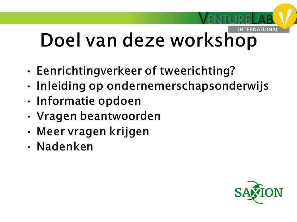 Doel van deze workshop Eenrichtingverkeer of tweerichting