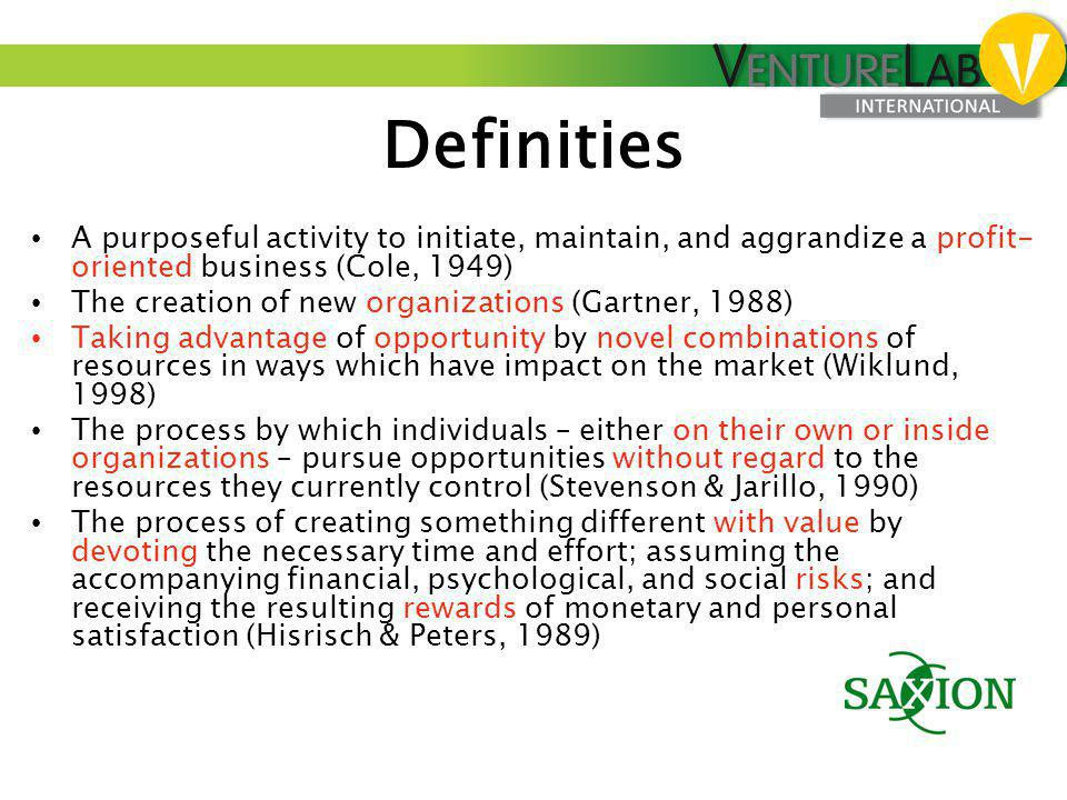 Definities A purposeful activity to initiate, maintain, and aggrandize a profit-oriented business (Cole, 1949)