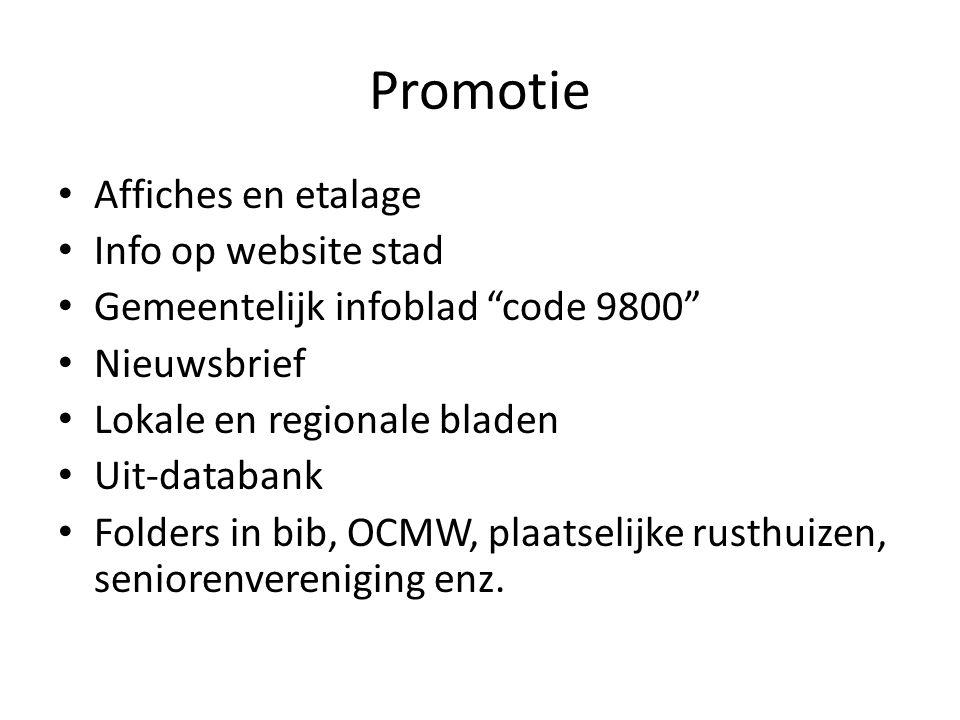 Promotie Affiches en etalage Info op website stad