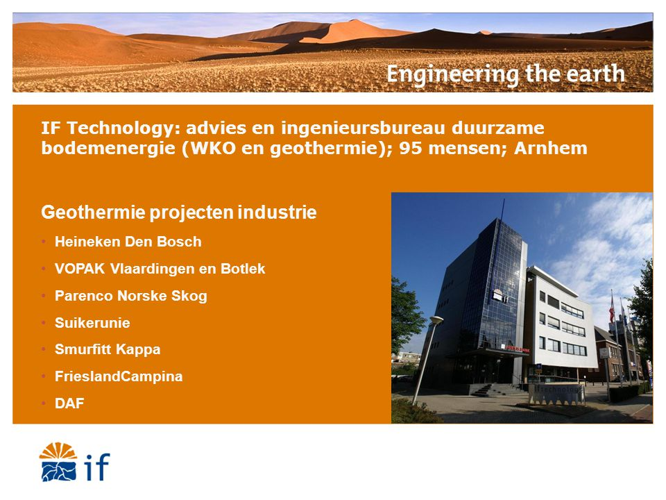 Geothermie projecten industrie