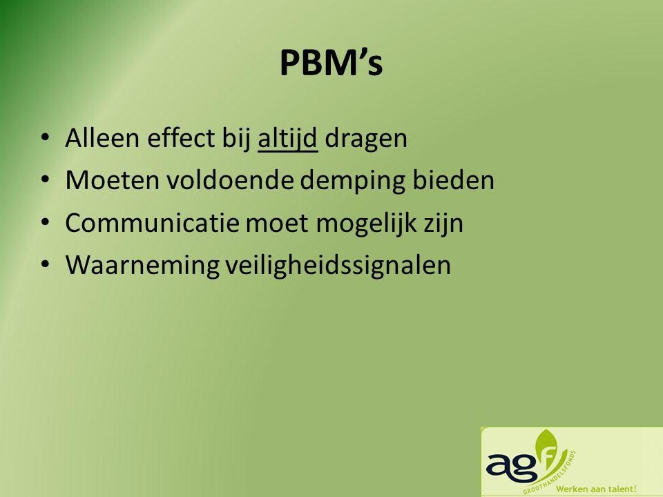 PBM's Alleen effect bij altijd dragen Moeten voldoende demping bieden