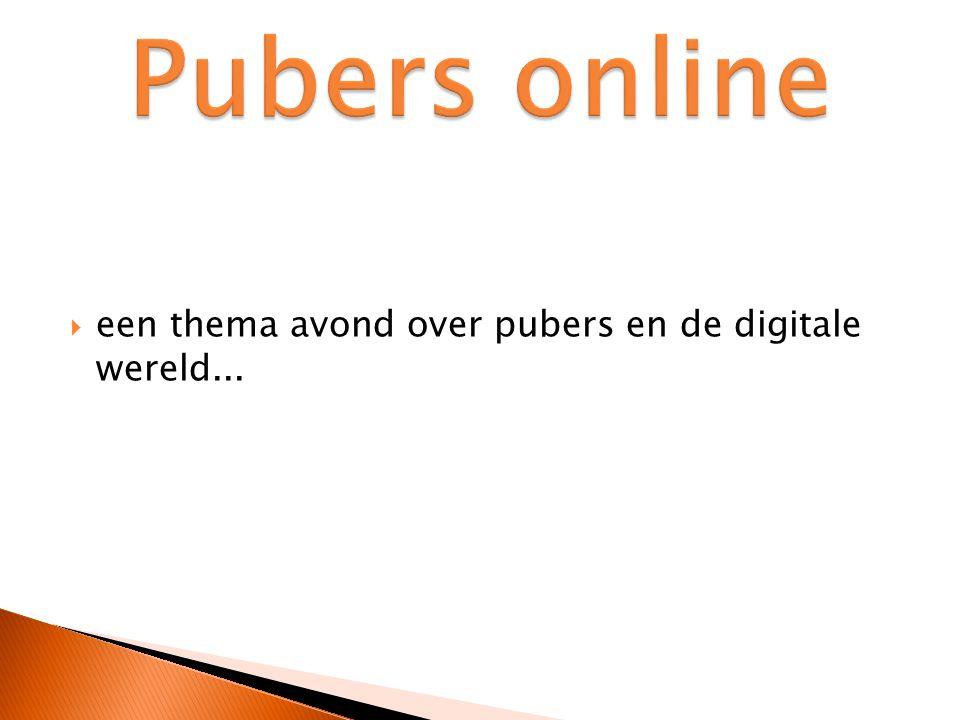 Pubers online een thema avond over pubers en de digitale wereld...