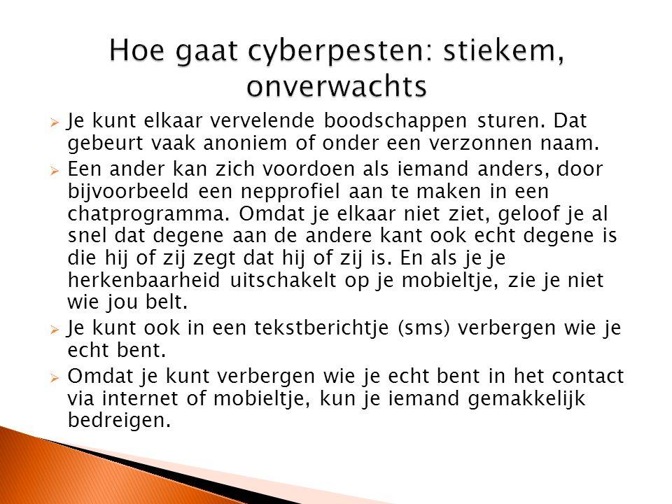 Hoe gaat cyberpesten: stiekem, onverwachts