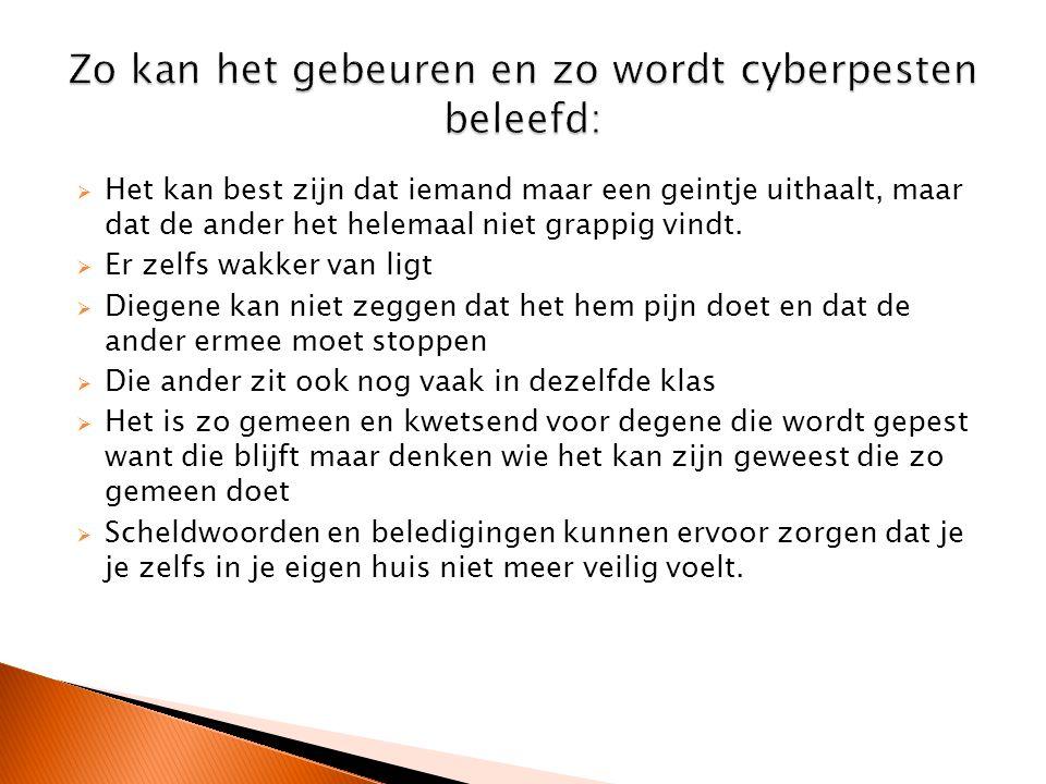Zo kan het gebeuren en zo wordt cyberpesten beleefd: