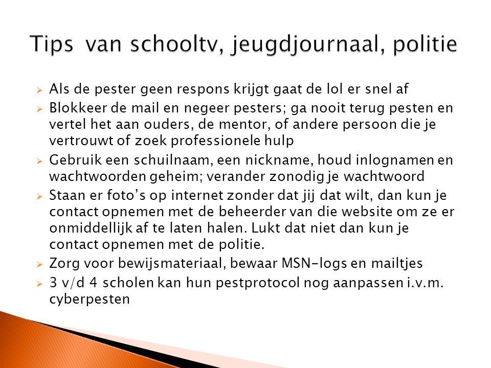 Tips van schooltv, jeugdjournaal, politie