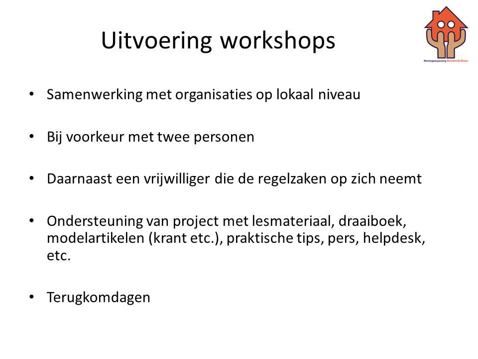Uitvoering workshops Samenwerking met organisaties op lokaal niveau