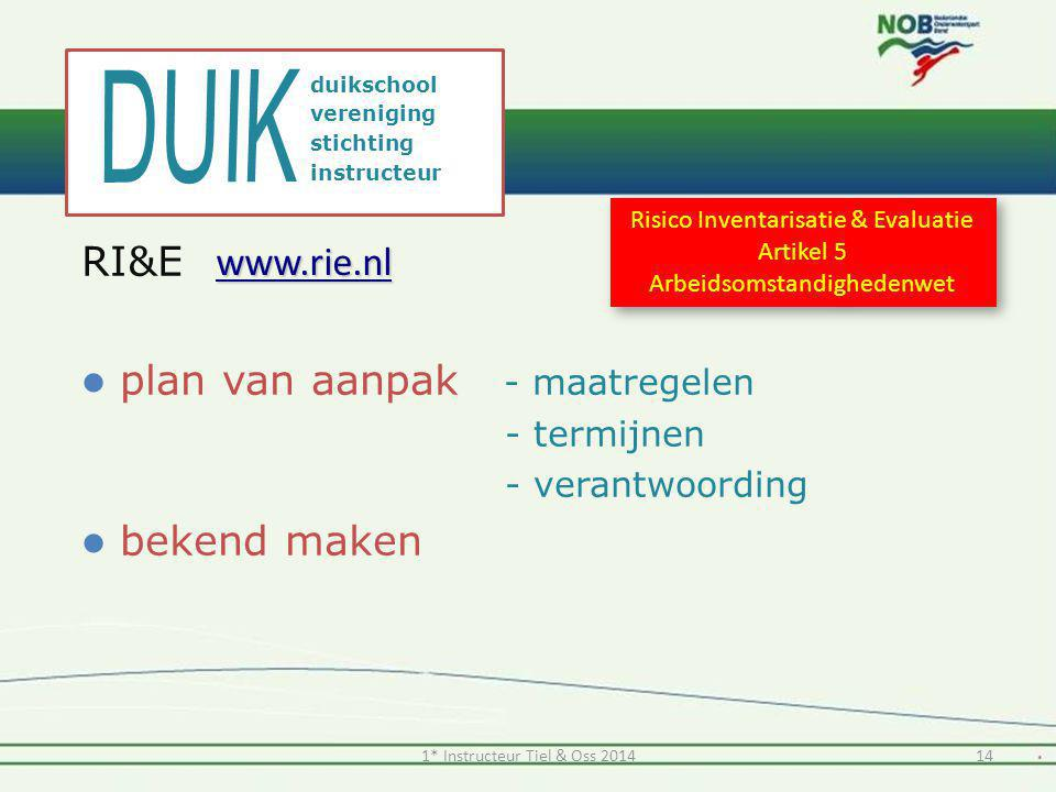 DUIK RI&E www.rie.nl plan van aanpak - maatregelen bekend maken