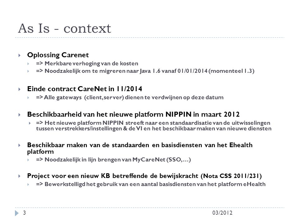As Is - context Oplossing Carenet Einde contract CareNet in 11/2014