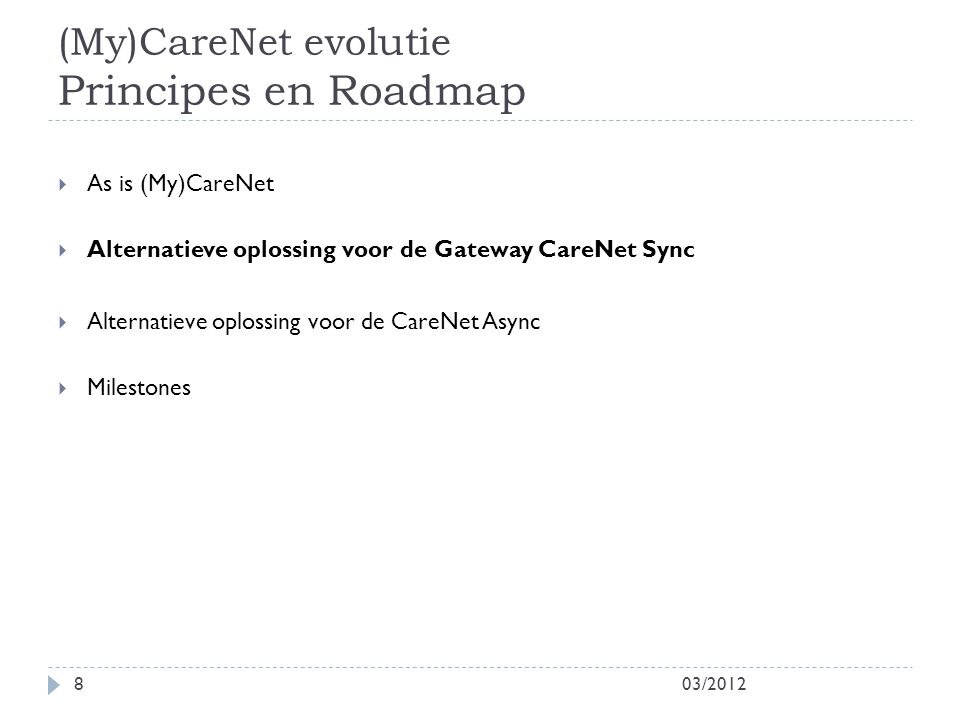 (My)CareNet evolutie Principes en Roadmap