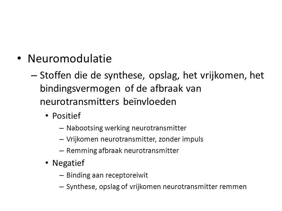 Neuromodulatie Stoffen die de synthese, opslag, het vrijkomen, het bindingsvermogen of de afbraak van neurotransmitters beïnvloeden.