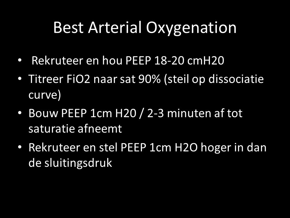 Best Arterial Oxygenation