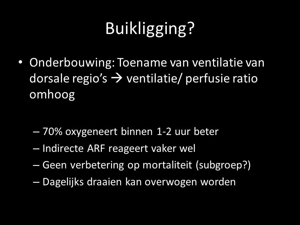 Buikligging Onderbouwing: Toename van ventilatie van dorsale regio's  ventilatie/ perfusie ratio omhoog.