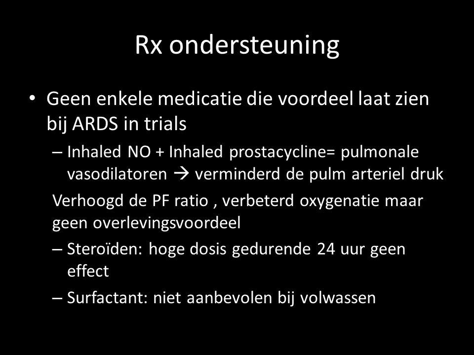 Rx ondersteuning Geen enkele medicatie die voordeel laat zien bij ARDS in trials.