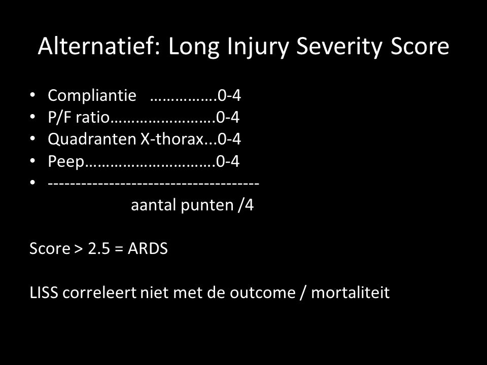 Alternatief: Long Injury Severity Score