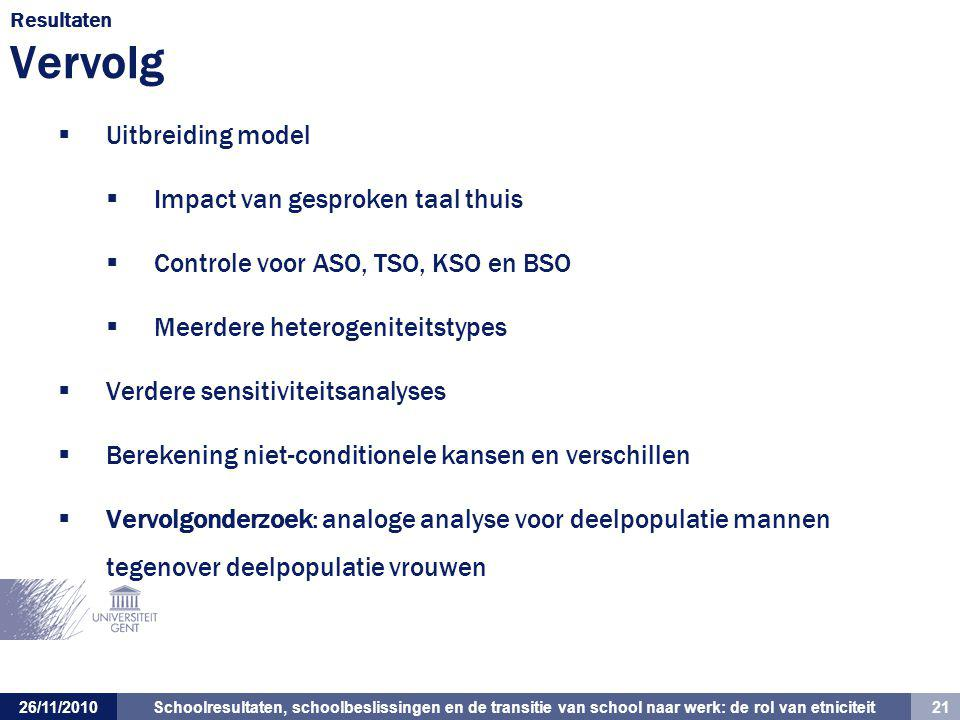 Impact van gesproken taal thuis Controle voor ASO, TSO, KSO en BSO