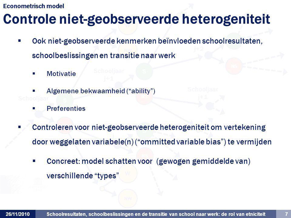Econometrisch model Controle niet-geobserveerde heterogeniteit