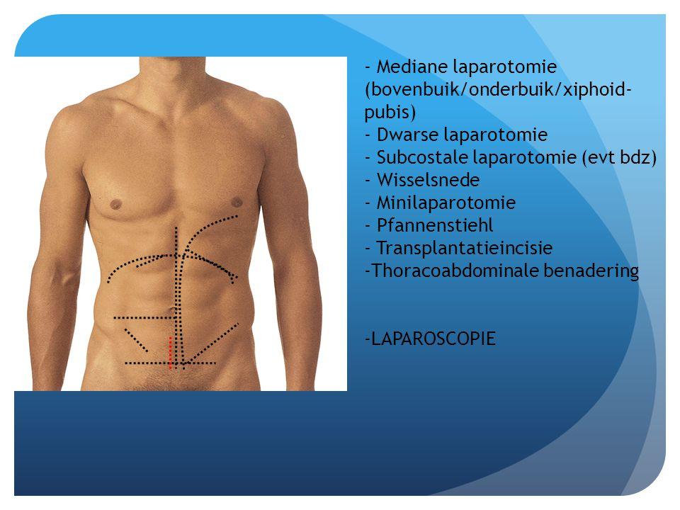 - Mediane laparotomie (bovenbuik/onderbuik/xiphoid-pubis)